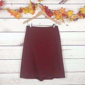 LOFT Autumn Red Fall Career A Line Skirt size 6